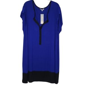 Daisy Fuentes Blue and Onyx Color Block Dress, 3X